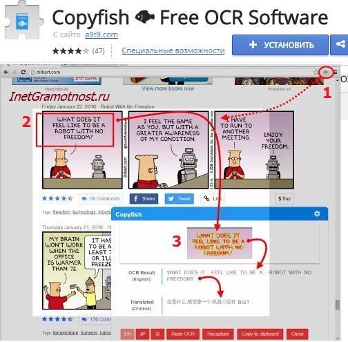 Copyfish перевод текста с картинки онлайн