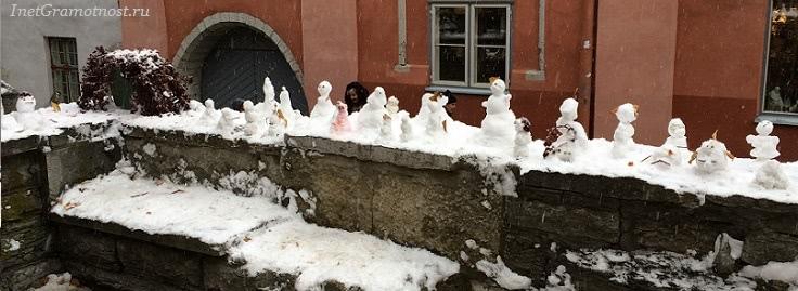 парад снеговик украшен