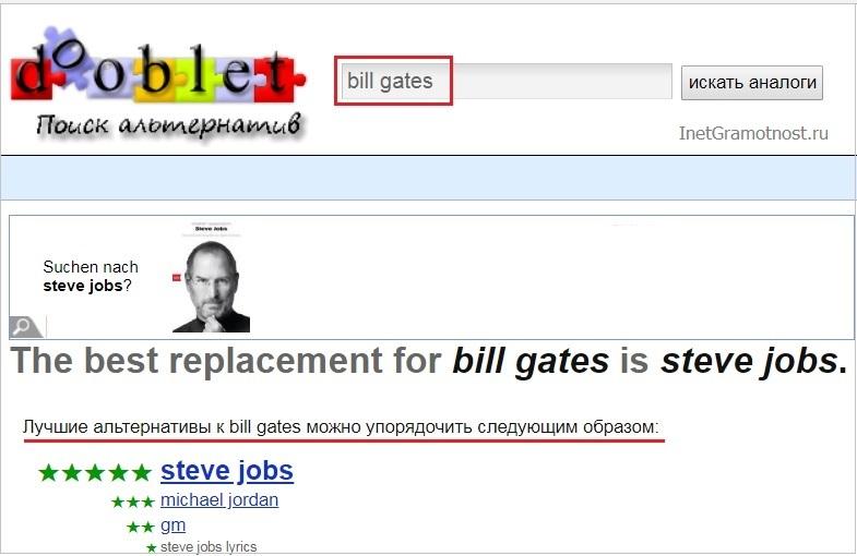 Поиск альтернативы Биллу Гейтсу с помощью поисковика dooblet.com