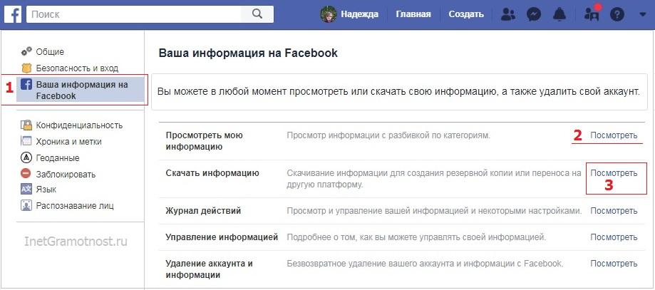 Ваша информация на Facebook