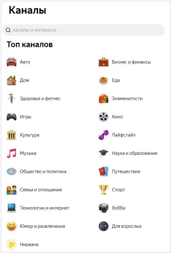 каналы Яндекс Дзена для читателей