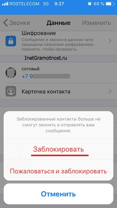 окно перед блокировкой абонента WhatsApp в iPhone