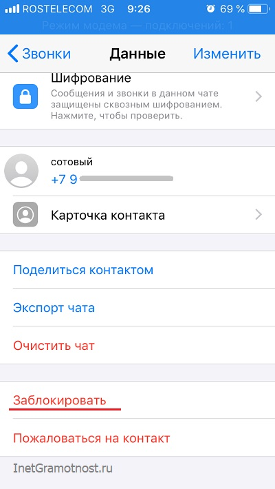Профиль не заблокированного абонента WhatsApp в iPhone
