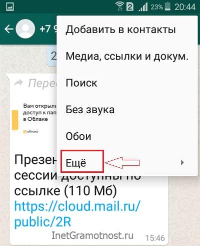 Меню управления чатом в WhatsApp на Андроиде