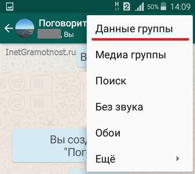 Опция Данные группы в WhatsApp