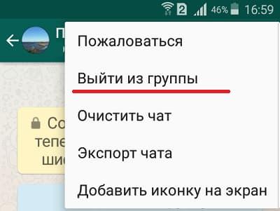 опция Выйти из группы WhatsApp