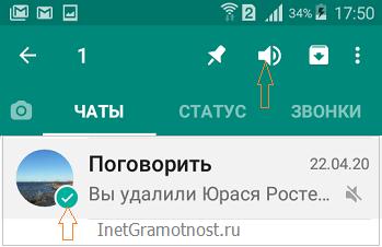 чат с отключенным звуком whatsapp в андроид