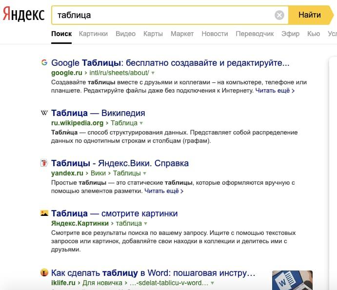 выдача Яндекса на запрос таблица